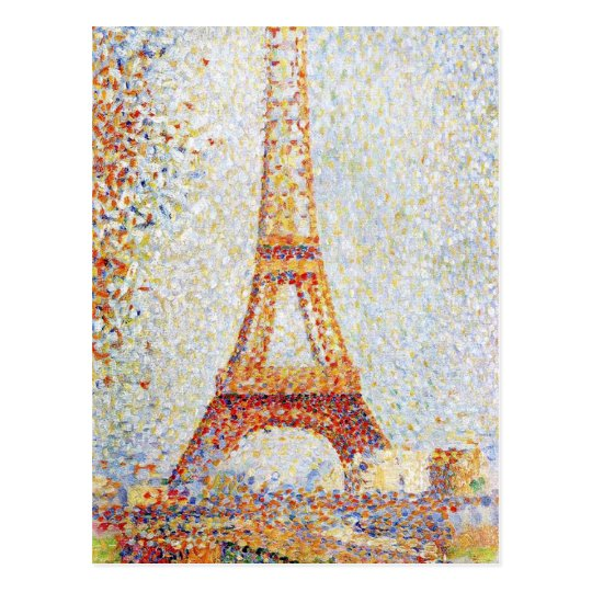 Eiffel Tower by Seurat Fine Art Postcard