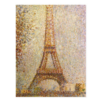 Eiffel Tower by Seurat, Vintage Pointillism Art Post Cards