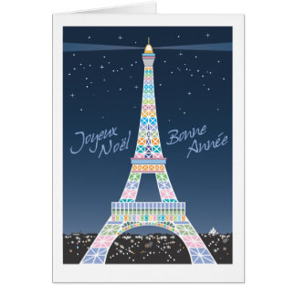 Eiffel Tower Christmas Greeting Card