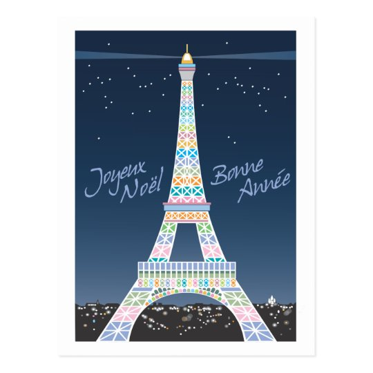 Eiffel Tower Christmas post card