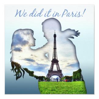 Eiffel Tower Couple Paris Wedding Reception Card