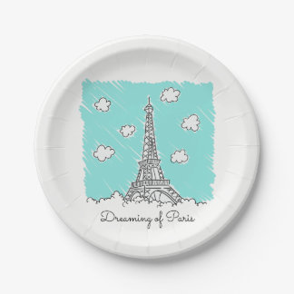 Eiffel Tower custom text paper plates