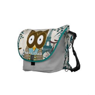 Eiffel Tower Cute Owl You Choose Colors Courier Bag