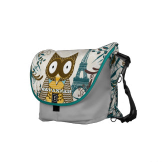Eiffel Tower Cute Owl You Choose Colors Commuter Bags