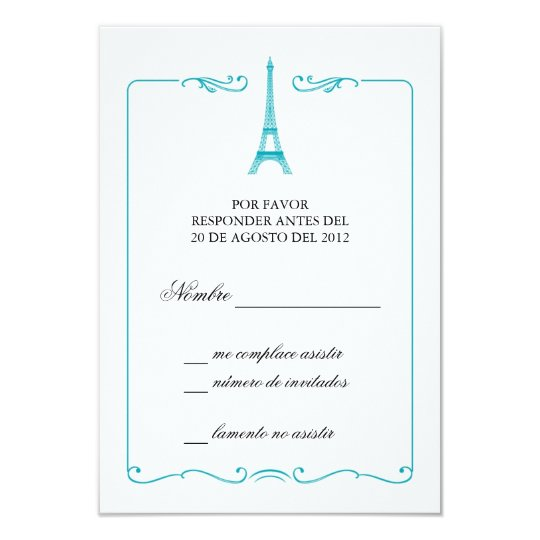 Eiffel Tower Elegant RSVP Card Invitation