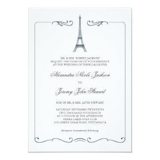 Eiffel Tower Elegant Wedding Invitation