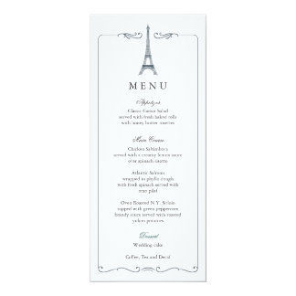 Eiffel Tower Elegant Wedding Menu Card
