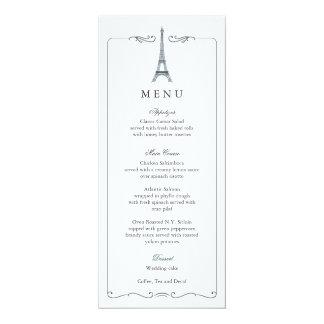 Eiffel Tower Elegant Wedding Menu Card 10 Cm X 24 Cm Invitation Card