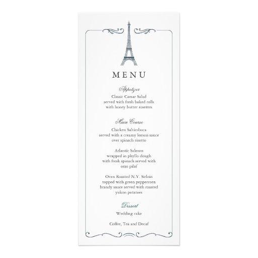 Eiffel Tower Elegant Wedding Menu Card Announcements