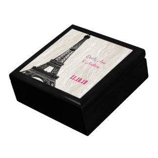 Eiffel Tower Faux Wood Grain Keepsake Jewelry Box