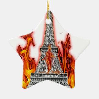 Eiffel Tower fire Ceramic Star Decoration