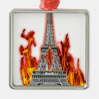 Eiffel Tower fire Silver-Colored Square Decoration