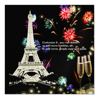"Eiffel Tower+fireworks champagne bubbles 5.25"" Square Invitation Card"