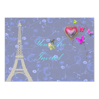 Eiffel Tower Floral Invites