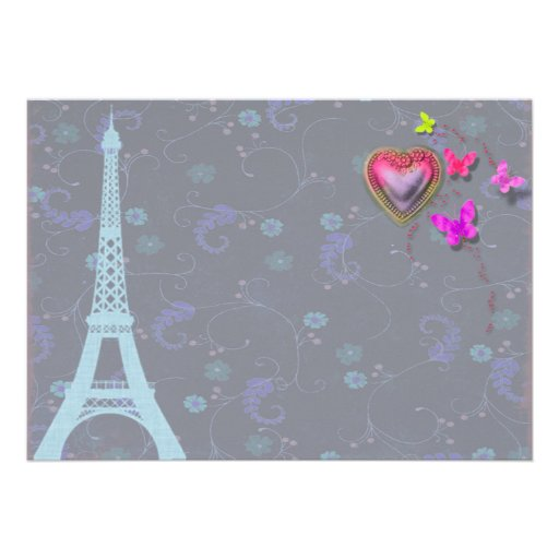 Eiffel Tower Floral Save The Date Cards