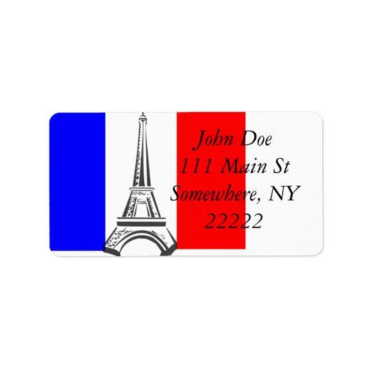 Eiffel Tower France Address Label