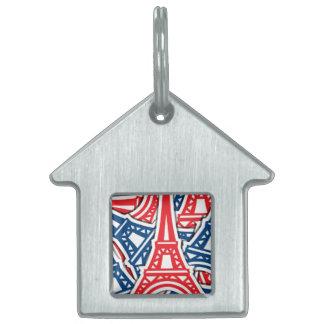 Eiffel Tower, France Pattern Pet ID Tag