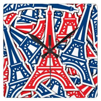 Eiffel Tower, France Pattern Square Wall Clock