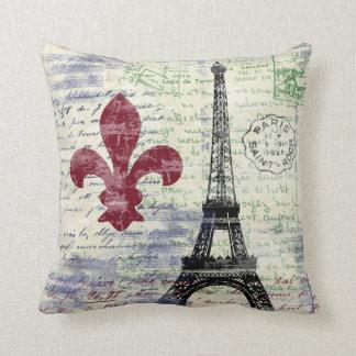 Eiffel Tower France Vintage Art Pillow
