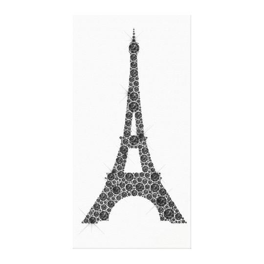 Eiffel Tower French Paris Black White Crystal Canvas