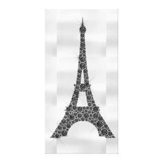 Eiffel Tower French Paris Black White Luxury Canvas Print