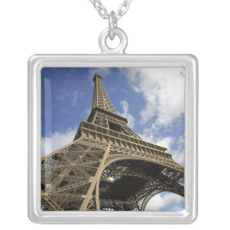 Eiffel tower from low angle silver plated necklace