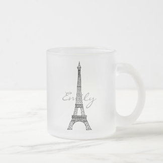 Eiffel Tower Frosted Glass Mug