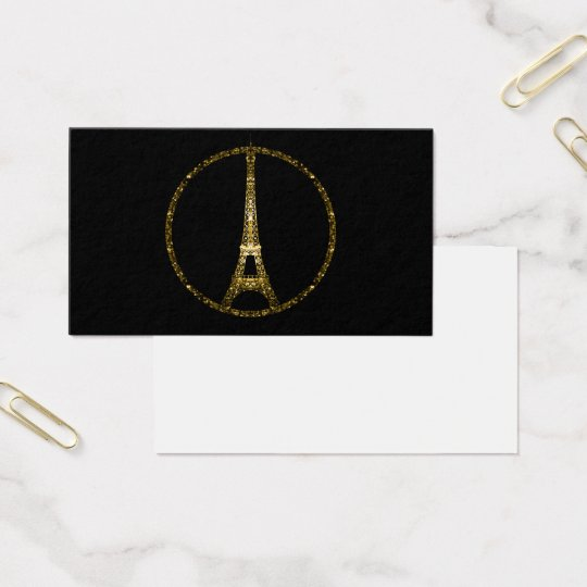 Eiffel Tower gold glitter sparkles on Black Business Card