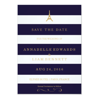 Eiffel Tower gold with stripes Save the Date Card 13 Cm X 18 Cm Invitation Card