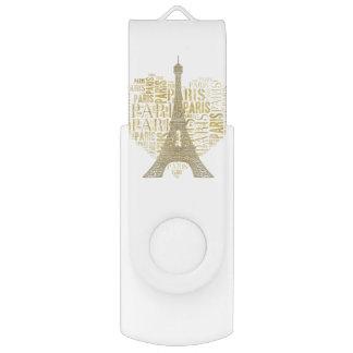 Eiffel Tower | Golden Inscriptions Paris in Heart USB Flash Drive