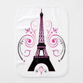 Eiffel Tower Gradient Swirl Design Baby Burp Cloths