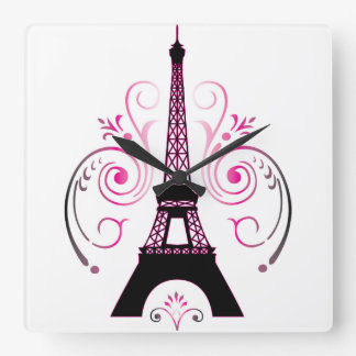 Eiffel Tower Gradient Swirl Design Square Wall Clock