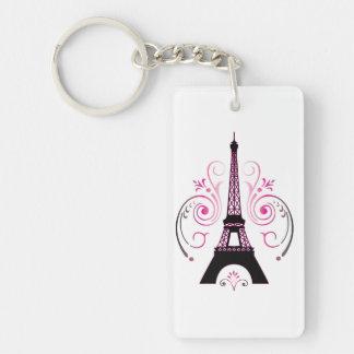Eiffel Tower Gradient Swirl Design Rectangle Acrylic Keychain