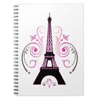 Eiffel Tower Gradient Swirl Design Spiral Notebook