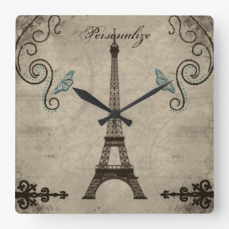 Eiffel Tower Grunge Wall Clock