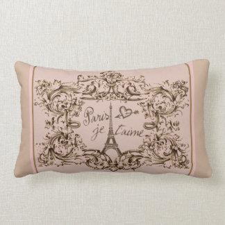 """Eiffel Tower """"I love Paris"""" """"Paris Je taime"""" Lumbar Cushion"""