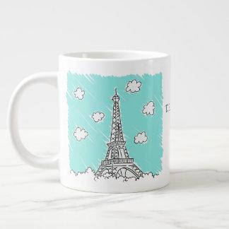 Eiffel Tower Illustration custom text jumbo mug