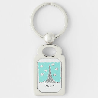 Eiffel Tower Illustration custom text key chain Silver-Colored Rectangle Key Ring