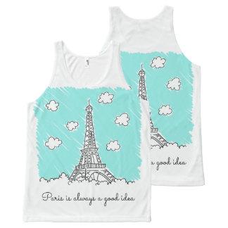Eiffel Tower Illustration custom text tank top