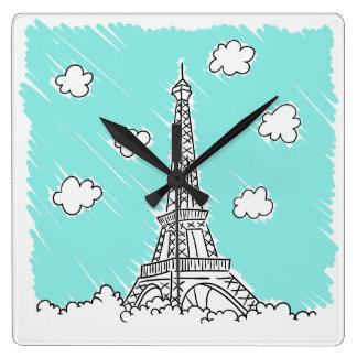 Eiffel Tower Illustration wall clock