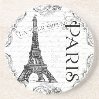 Eiffel Tower in Black and White Beverage Coasters