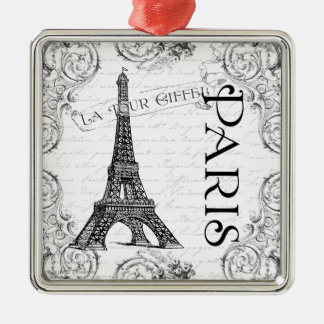 Eiffel Tower in Black and White Christmas Ornament