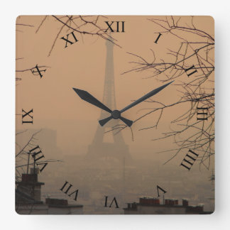 Eiffel Tower in Haze of Smog Square Wall Clock