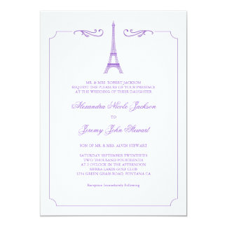 Eiffel Tower in Lavender Elegant Wedding Invitatio Card