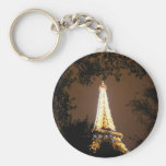 Eiffel Tower in Paris, France at Night Key Chains