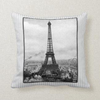 Eiffel Tower In Paris Striped Vintage Cushion