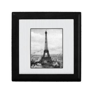 Eiffel Tower In Paris Striped Vintage Gift Box