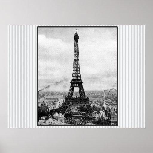 Eiffel Tower In Paris Striped Vintage Posters