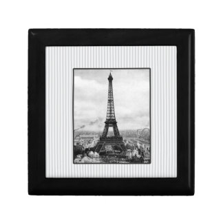 Eiffel Tower In Paris Striped Vintage Small Square Gift Box