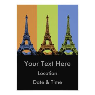 Eiffel Tower in Paris Triptych 13 Cm X 18 Cm Invitation Card